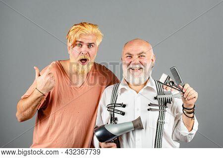 Barber With Scissors And Razor, Barbershop. Beard Man, Bearded Male. Portrait Beard Man. Barber Maki