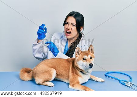 Beautiful hispanic veterinarian woman putting vaccine to puppy dog angry and mad screaming frustrated and furious, shouting with anger. rage and aggressive concept.