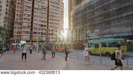 Kwun Tong, Hong Kong 27 May 2021: Sunlight between the building in Hong Kong residential district
