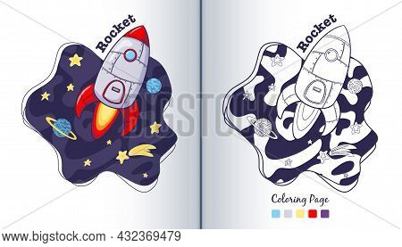 Cartoon Rocket And Stars Coloring Page. Hand Drawn Spaceship On Cosmic Background. Spacecraft In Cos