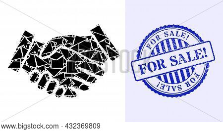 Debris Mosaic Handshake Icon, And Blue Round For Sale Exclamation Rubber Stamp Seal With Text Inside