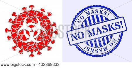 Debris Mosaic Hazard Virus Icon, And Blue Round No Masks Exclamation Dirty Stamp With Word Inside Ci