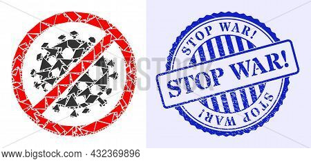 Debris Mosaic Stop Covid Infection Icon, And Blue Round Stop War Exclamation Corroded Stamp Imitatio