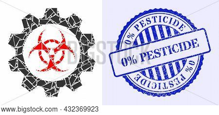 Detritus Mosaic Toxic Industry Icon, And Blue Round 0 Percents Pesticide Textured Stamp Seal With Ca