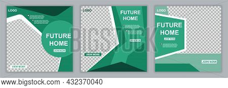 Set Of Real Estate Social Media Post Template With Transparent Parts For Customising. Concept Of Hom
