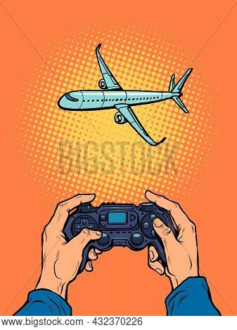 A Man Takes Pictures Of The Plane. The Photographer Hands. Travel Gadgets