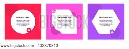 Creative Testimonial Templates. Set Of Frames For Inserting Quotes. Bright Graphic Elements For Webs