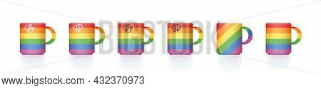 Gay Pride Mugs. Rainbow Colored Set Of Cups For Tea, Coffee, Milk Or Hot Chocolate, With Gay And Les