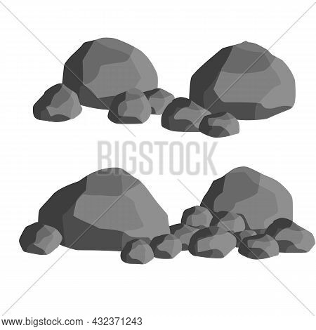 Set Of Gray Granite Stones Of Different Shapes. Flat Illustration. Minerals, Boulder And Cobble. Ele