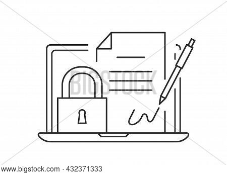 Digital Signature Icon. Black And White, Linear. Pen Signs Document, Metaphor For Confidentiality An