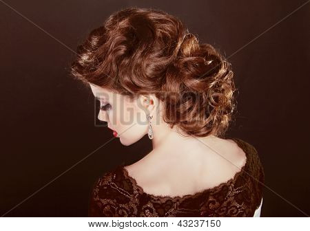 Hair. Wavy Hairstyle. Beautiful Girl With Brown Curly Hair. Healthy Romantic Hair.