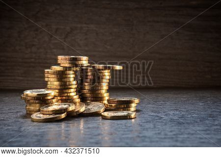 Coin Tower, Coins Close-up Background, Money, Gold Coins On A Dark Background, Concept Of Savings, B