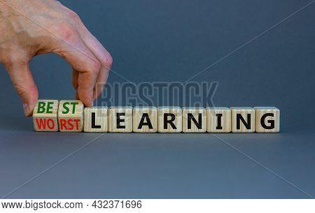 Best Or Worst Learning Symbol. Businessman Turns Cubes, Changes Words Worst Learning To Best Learnin