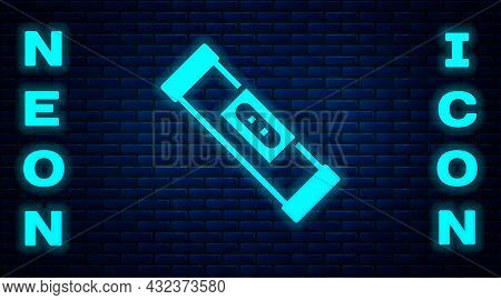 Glowing Neon Construction Bubble Level Icon Isolated On Brick Wall Background. Waterpas, Measuring I