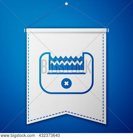 Blue Electrical Hair Clipper Or Shaver Icon Isolated On Blue Background. Barbershop Symbol. White Pe