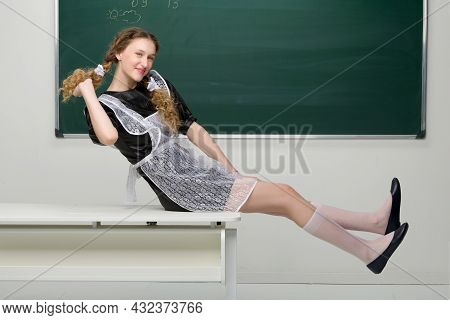 Joyful Girl Student Holding Her Two Long Braids. Smiling Pretty Shoolgirl With Braided In Two Plaits