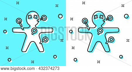 Black Line Voodoo Doll Icon Isolated On Green And White Background. Happy Halloween Party. Random Dy