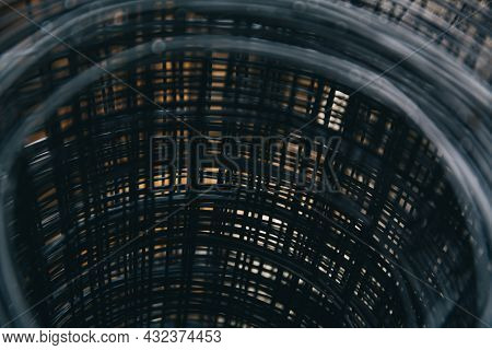 Reinforcement Mesh Is Stacked For Use In Reinforced Concrete Construction Work. Steel Material In Th
