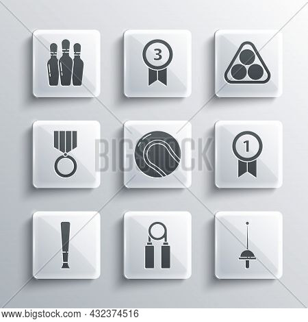 Set Sport Expander, Fencing, Medal, Baseball Ball, Bat, Bowling Pin And Billiard Balls Rack Triangle