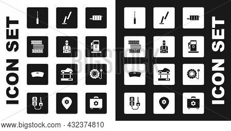 Set Car Muffler, Mechanic, Tire Wheel, Screwdriver, Petrol Or Gas Station, Windscreen Wiper, Tire Pr