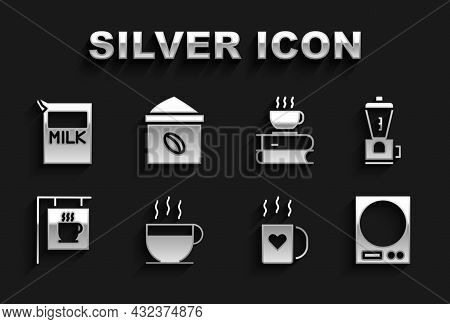 Set Coffee Cup, Electric Coffee Grinder, Electronic Scales, And Heart, Street Signboard, Book, Paper