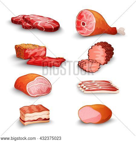 Fresh Meat Products Set With Steak Bacon Fillet Ham Isolated Vector Illustration