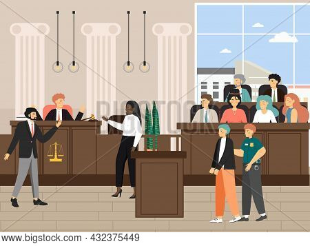 Court Session In The Courtroom, Flat Vector Illustration. Legal Trial With Judge, Jury, Lawyers, Sec