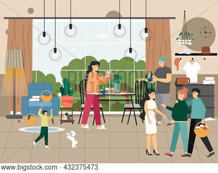 Happy People Celebrating Happy Easter Holiday At Home, Flat Vector Illustration. Family Characters W