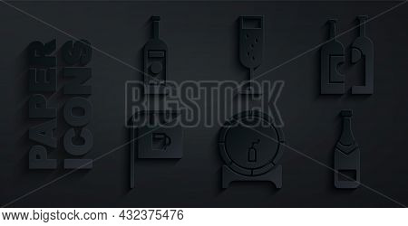 Set Wooden Barrel On Rack, Bottles Of Wine, Street Signboard With Bar, Champagne Bottle, Glass Champ
