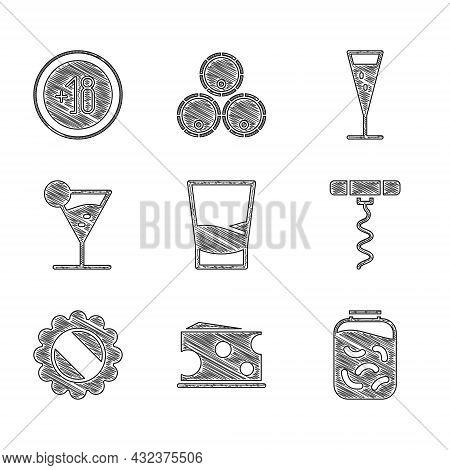 Set Glass Of Vodka, Cheese, Pickled Cucumbers In Jar, Wine Corkscrew, Bottle Cap, Martini Glass, Cha