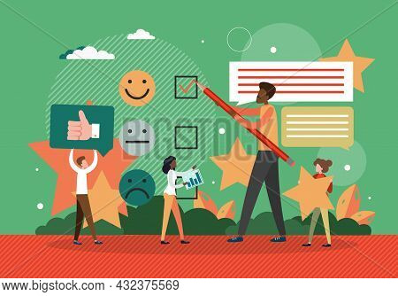 Customer Reviews Concept Flat Vector Illustration. Client Feedback On Electronic Commerce. Customer