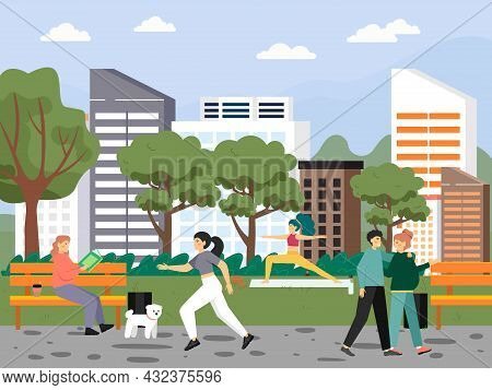 People Enjoying Spring Weather In City Park, Vector Illustration. Healthy Active Lifestyle. Spring L