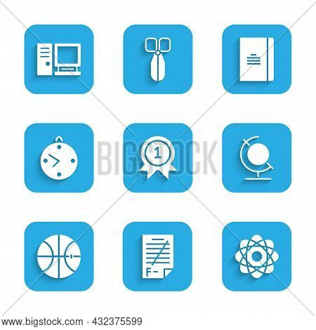 Set Medal, Exam Paper With Incorrect Answers, Atom, Earth Globe, Basketball Ball, Clock, Spiral Note