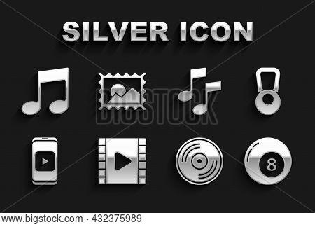 Set Play Video, Kettlebell, Billiard Pool Snooker Ball, Vinyl Disk, Online Play Video, Music Note, T