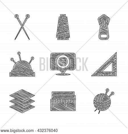 Set Location Tailor Shop, Tape Measure, Yarn Ball With Knitting Needles, Triangular Ruler, Layers Cl