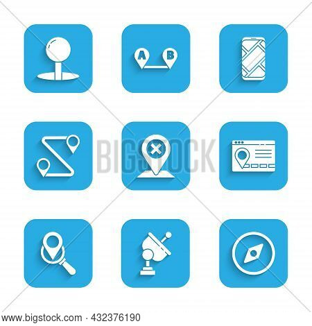 Set Location, Radar, Compass, Infographic Of City Map Navigation, Search Location, Route, City And P