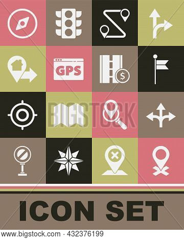 Set Location, Road Traffic Sign, Marker, Route Location, Gps Device With Map, House, Compass And Tol