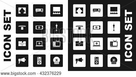 Set Cinema Auditorium With Screen, Online Play Video, Limousine Car And Carpet, Curtain, Movie Troph