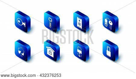 Set Key, Mobile With Fingerprint Scan, House Key, Lock, Broke Inside Of Padlock, Under Protection, B