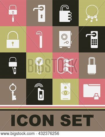 Set Folder And Lock, Lock, Digital Door, Safe Combination, Crowbar, Picks For Picking And Icon. Vect