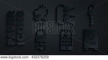 Set Mobile And Graphic Password, Unlocked Key, Key Broke Inside Of Padlock, Safe, Bunch Keys And Bro