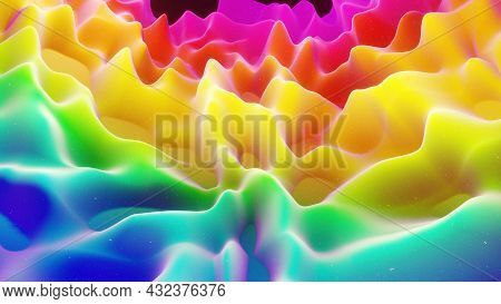 Beautiful Abstract 3d Surface With Extrude Or Displace Waves. Rainbow Gradient. Soft Matte Material