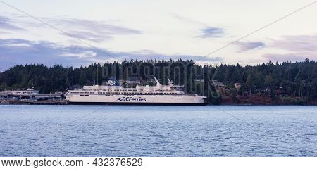 Victoria, Vancouver Island, British Columbia, Canada - August 23, 2021: Bc Ferries Parked At Swartz
