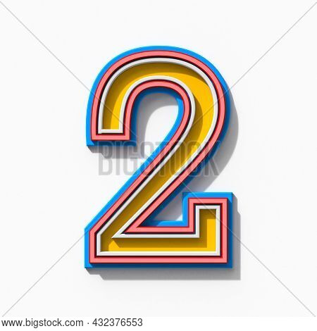 Slab Serif Colorful Outlined Font With Shadows Number 2 Two 3d Rendering Illustration Isolated On Wh