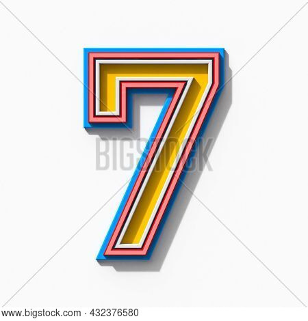 Slab Serif Colorful Outlined Font With Shadows Number 7 Seven 3d Rendering Illustration Isolated On