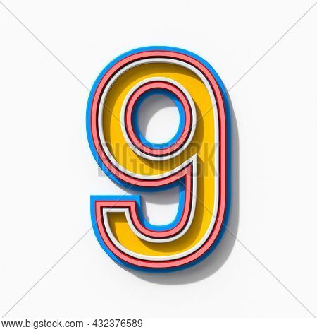Slab Serif Colorful Outlined Font With Shadows Number 9 Nine 3d Rendering Illustration Isolated On W