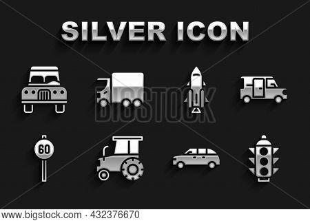 Set Tractor, Minibus, Traffic Light, Hatchback Car, Speed Limit Traffic, Rocket Ship With Fire, Car