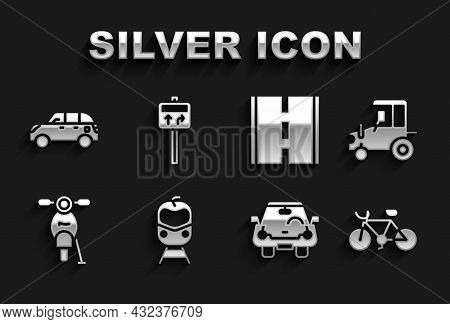 Set Train And Railway, Tractor, Bicycle, Car, Scooter, Road, Hatchback Car And Traffic Signpost Icon