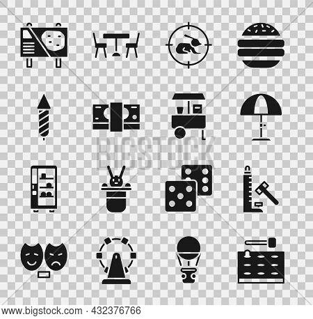 Set Arcade Game Machine, Sun Protective Umbrella, Hunt Rabbit Crosshairs, Stacks Paper Money Cash, F