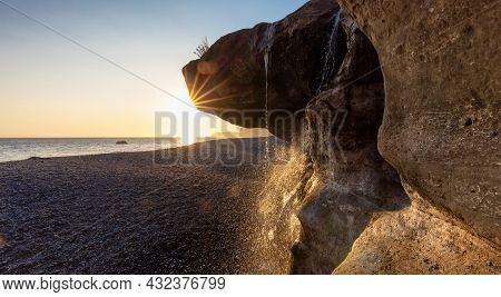 Unique Rock Formation At Sandcut Beach On The West Coast Of Pacific Ocean. Summer Sunny Sunset. Cana